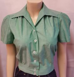 1940's Work Blouse, made from 100% cotton with white buttons, this will compliment any of our jeans. An essential part of your casual wardrobe for Summer., Made in London, PLEASE CHECK THE SIZE CHART BELOW.