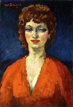 Van Dongen, Kees (Delfshaven 1877 - 1968 Monaco) Portrait of a woman dressed in orange colour pullover.