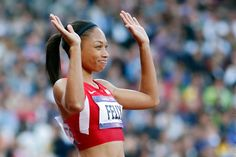 Allyson Felix of the United States waves after competing in the Women's Semi Final on Day 8 of the London 2012 Olympic Games at Olympic Stadium on August 2012 in London, England. Girl Running, Running Tips, Allyson Felix, 2012 Summer Olympics, Track Workout, Sport Photography, African History, Track And Field, Olympic Games