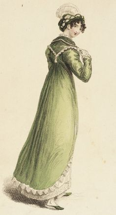 1815   Diana Walking Dress.  Fashion Plate February 1815. Credited to John Bell (La Belle Assemblée) collections.lacma.org
