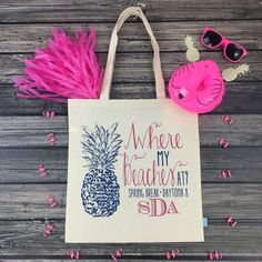 Planning a beach bachelorette party?! Our adorable WHERE MY BEACHES AT tote bags are def a must have beach bag favor for your girls! 🍍