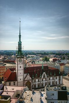 View from the Church of Saint Maurice, Olomouc, Czech Republic - looking at the Town Hall.