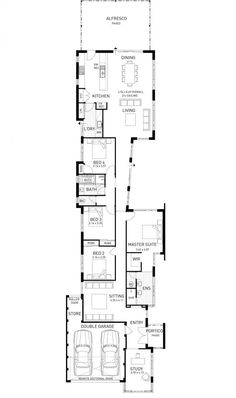 Ardross, Single Storey Narrow Home Design Floor Plan, Western Australia