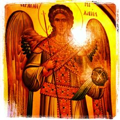 St Michael the Archangel, defend us in battle. Icon on door leading to tabernacle of the Greek Orthodox Church in Modesto