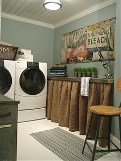 Love the rustic sideboard thing...could use as storage behind the burlap curtain!