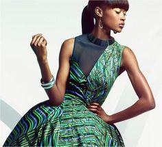 Green Ankara print fabric sleeveless a line dress