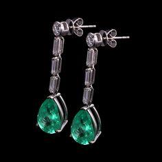 RRV $27,844 - 18ct W.G, 6.53ct Emerald & Diamond Drop Stud Earrings