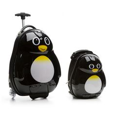 Trendykid Travel Buddies Percy Penguin 2-piece Hardside Kids Carry On Luggage Set | Overstock.com I FOUND THEM, IT'S SO CUTE WANT WANT WANT