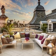 Dome Penthouse at Hotel Café Royal London, the spacious terrace with a Mary Poppins view of London.