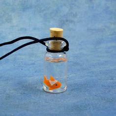 Goldfish Specimen Jar Necklace Handmade Biology Jewelry by Noadi, $30.00
