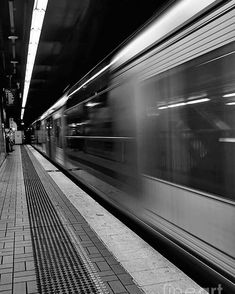 Fast Train - Black and White Poster