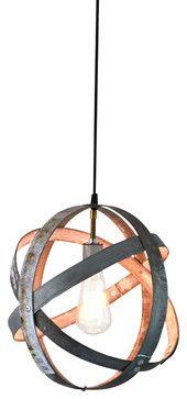 Atom Globe - Small Wine Barrel Ring Lantern - rustic - Pendant Lighting - Wine Country Craftsman