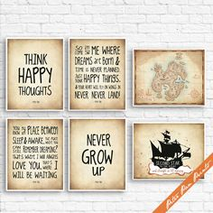 Peter Pan Neverland Quotes and Map (B) - Set of 6 Art Print (Unframed) (Featured in Treasure Map) Peter Pan Prints THIS LISTING IS TO PURCHASE an ART PRINT. The Story Book Collection is meant to inspire and teach, by rekindling our memories of the stories we cherish. Through stories we learn to laugh, compose, perform, and triumph over lifes ups and downs. We hope our collection brings you back in time by transporting you, your family and friends to a happy place. ________________________...