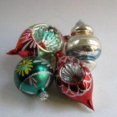 Vintage Christmas Ornaments Glass Balls 1950's Hand by DodadChick