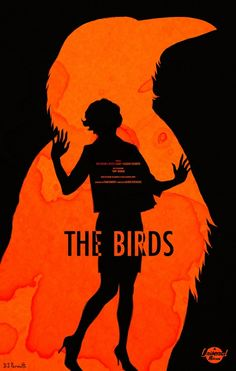 The Birds minimalist movie poster, strong contrast and striking silhouettes