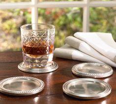 PB Antique Silver Drink Coasters