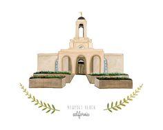 Newport Beach California LDS Temple Illustration  by HeatherMettra with custom text: Newport Beach, CA  November 1, 2014