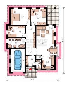 Projekt bungalovu Bungalow 52 - půdorys přízemí