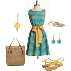 Turquoise and Yellow--Love this whole group  (Sarah S., If you see this, I can sooo see your cute self in this dress and shoes --don't know why but it makes me think of you :)