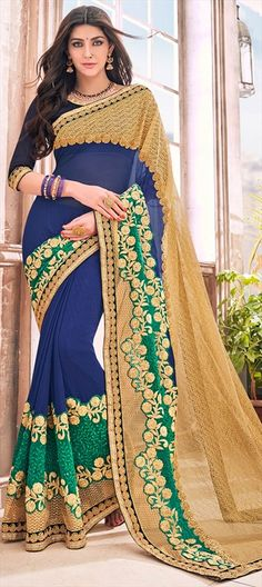 741767 Multicolor  color family Embroidered Sarees, Party Wear Sarees in Faux Georgette fabric with Border, Machine Embroidery, Stone, Thread, Zari work   with matching unstitched blouse.