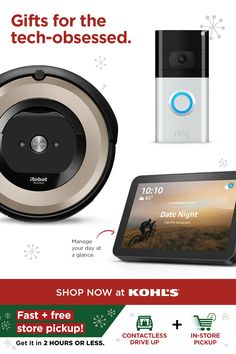 With a busy shipping season ahead, get your gifts now. A portable speaker makes the perfect present—go for an Amazon Echo Dot smart speaker with Alexa. An Amazon Echo Show 8 smart display is a great pick for those on the go. They can manage their day at a glance with alarms, weather updates, traffic reports and much more. Or, give an iRobot vacuum to keep their home clean. Get gifting now with fast and free store pickup or drive up! Shop tech and more at Kohl's and Kohls.com. #tech… Weather Update, Craft Room Design, At A Glance, Tech Gifts, Amazon Echo, Kohls, Holiday Gifts, Cleaning, Display