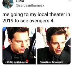 Sebastian Stan portrays the fictional role of Marvel comic character Bucky Barnes/ Winter Soldier in the Marvel movies. Avengers Humor, Marvel Jokes, Funny Marvel Memes, Dc Memes, Funny Memes, Avengers Quotes, Hilarious, Marvel E Dc, Marvel Actors
