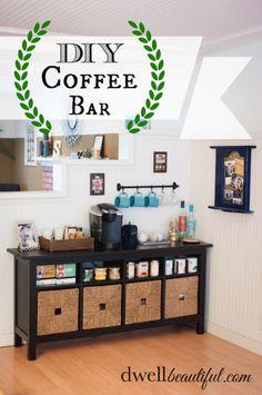 Beverage Coffee Bar. Organized Kitchen.