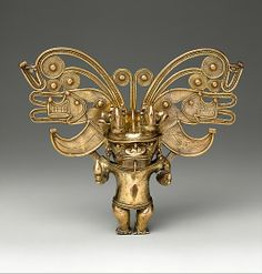 COLOMBIA | Figure Pendant, 10th–16th century. Colombia. The Metropolitan Museum of Art, New York. Gift of H. L. Bache Foundation, 1969 (69.7.10) #WorldCup