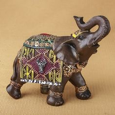 Bloomsbury Market Mountainside Elephant with Colorful Blanket and Headress Figurine Decorative Objects, Decorative Accessories, Decorative Pillows, Elephant Centerpieces, Elephant Artwork, Wood Initials, Buddha Decor, Architectural Sculpture, Elephant Sculpture