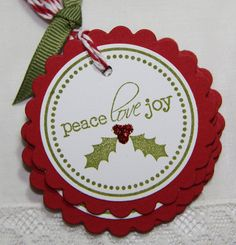 Christmas gift tags/ have scallop punch and holly leaf if they work together