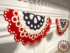 The Scrap Shoppe: Patriotic Doily Banner: So beautiful! I can't wait to have a Cricut or a Silhouette, or anything that will cut paper! Doily Garland, Doily Bunting, Bunting Template, Make Bunting, Garlands, Star Garland, Bunting Banner, Bunting Ideas, Patriotic Crafts