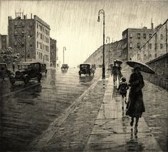 Rainy Day Queens NY : Martin Lewis : Home Decor Art Print: Drypoint etching Rockwell Kent, Norman Rockwell, Edward Hopper, Arte Black, Drypoint Etching, Paris Ville, Landscape Prints, Art Graphique, Japanese Prints