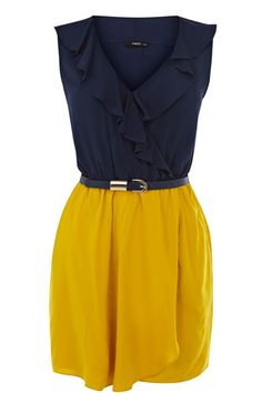 Blue and yellow dress, mayby for the 6th of June in Sweden? Frill front wrap viscose dress - Oasis