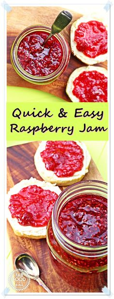 Quick & Easy Raspberry Jam – no pectin! The best raspberry jam I've ever tasted! Quick & Easy Raspberry Jam – no pectin! The best raspberry jam I've ever tasted! Raspberry Jam No Pectin, Fruit Recipes, Vegan Recipes Easy, Raspberry Recipes Easy, Homemade Jam Recipes, Yummy Recipes, Homemade Raspberry Jam, Jelly Recipes, Canning Recipes