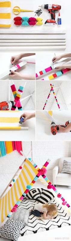 From I SPY DIY: DIY tent #DIY #adelinecrafts #getcreative
