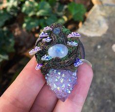 Angel Aura Spirit Quartz Woodland Necklace  by GaiasMysticGems
