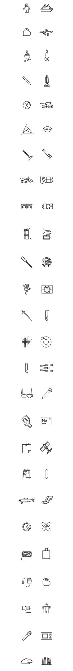 52 pictographic illustrations of inventions and discoveries. Esquire Russia by ooli mos
