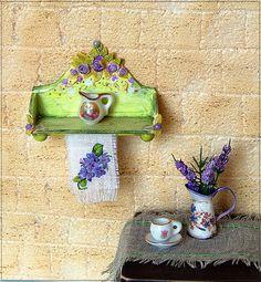 1/12TH scale Kitchen Shelf. Shabby Chic  Dollhouse by verrano, $17.00