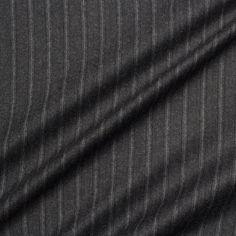 Designer Grey 'Heritage' Pinstripe Wool Suiting (£139.90/metre) | Joel & Son Fabrics