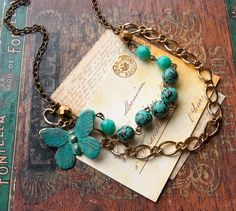 Verdigris Butterfly Beaded Layer Necklace by EllaBelleJewelry