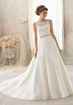 natural waist scoop chapel train v-back a-line wedding dress - wenadress.com
