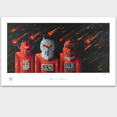Vintage Robot - Tin Space Man Toy - UFO - Roswell - Artwork Poster Print - PADLO | eBay