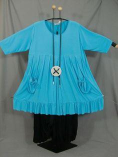 MAGNA - EMPIRE Tunika / Shirt in weiter A-Linie - türkis