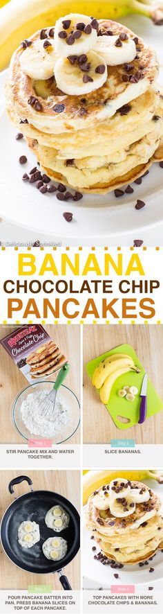 Banana Chocolate Chip Pancakes made with Krusteaz Chocolate Chip Pancake Mix! So yummy, my family loves these pancakes!