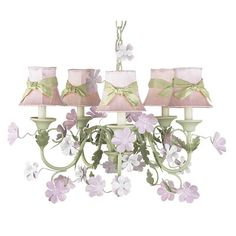 Jubilee Collection Pink Plain Chandelier Shade with Green Sash