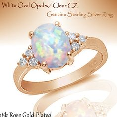 18k Rose Gold Plated Australian Moon Fire Opal w/ White Sapphire CZ Oval Cut Genuine Sterling Silver Ring