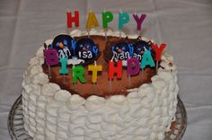 Tiramisu Cake for my mother-in-law's birthday. Birds in chocolate nest represented each grandchild. Chocolate Nests, Mother In Law Birthday, Tiramisu Cake, Cake Decorating, Birthday Cake, Birds, Decoration, Desserts, Food