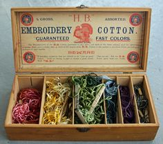 1910s Royal Society Silk Embroidery Thread in  Box.