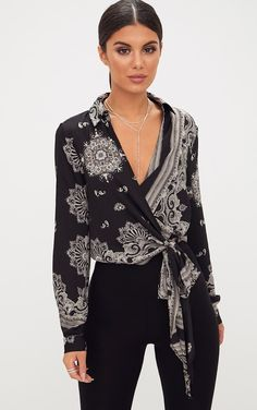 7bcc4ccc21460 Black Satin Paisley Print Wrap Front Tie Side Blouse