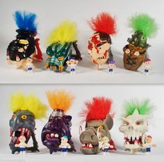 Mighty Max Dread Heads / Hairy Heads / Scalps X 8 (3)
